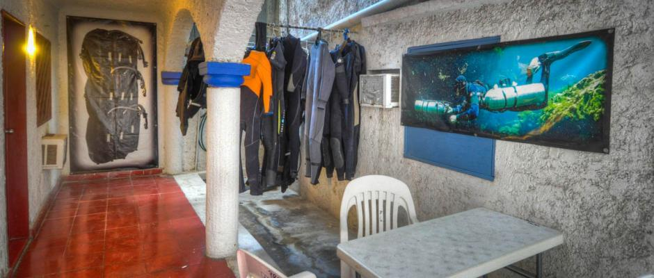 ProTec Dive Center dry suit and wet suit storage area