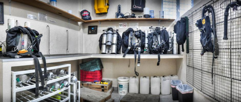 ProTec Tulum Dive Center Rebreather room