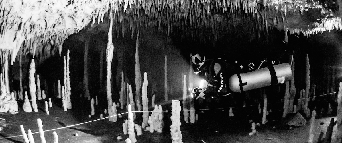 Sidemount diver in Mexico